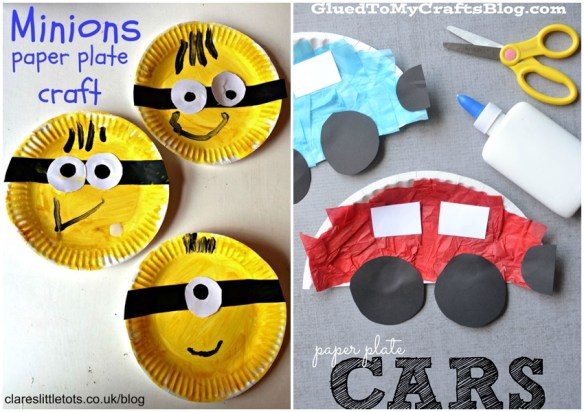 atividades artes criancas pintura colagem prato papel minions carros