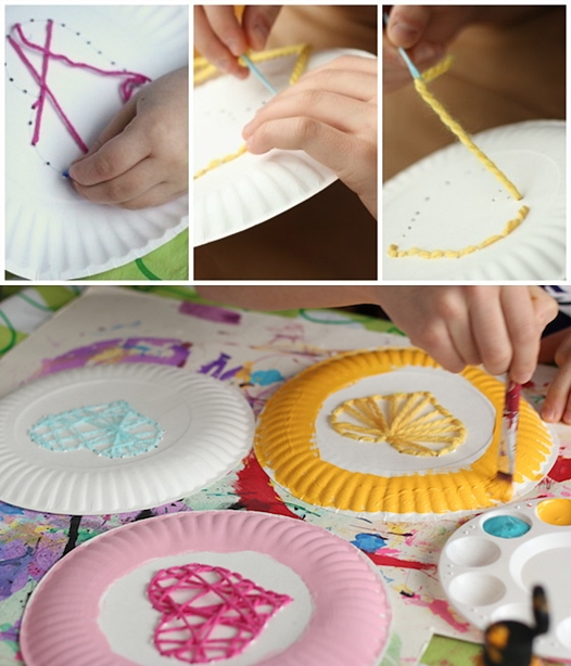 atividades artes criancas pintura prato de papel linha coracao