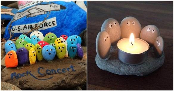 atividades criativas criancas pedras pintura porta velas