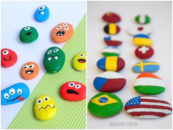 atividades criativas criancas pintura pedras monstrinhos bandeiras