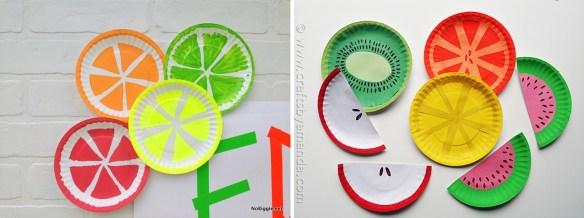 atividades manuais artes faceis para criancas prato de papel frutas 2