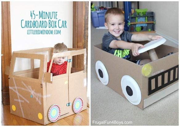 carrinho papelao carro entrar caixa papelao construções criativas