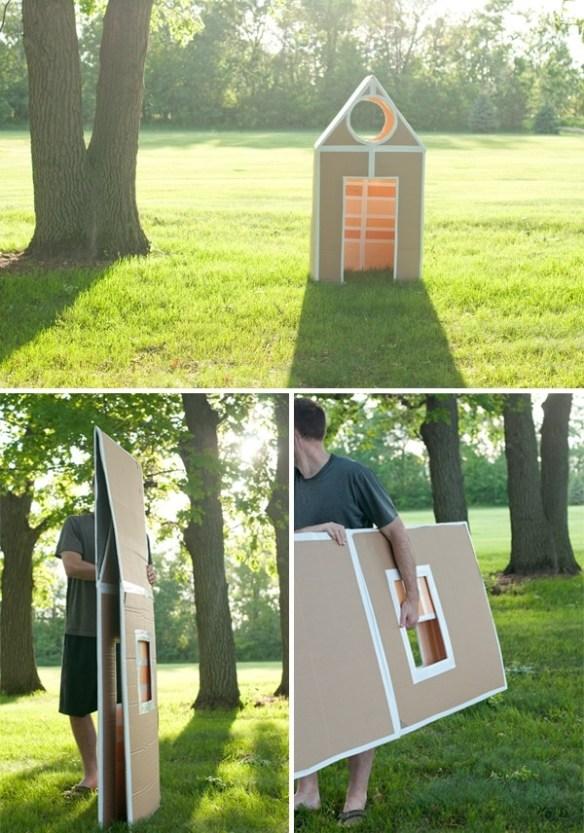 casinha caixa papelao dobravel facil de guardar