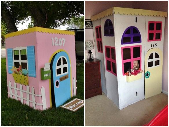 casinha de papelao decoradas construções com papelão criatividade