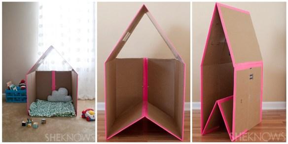 casinha simples papelao dobravel facil de guardar 2