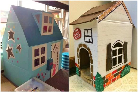 casinhas papelao decoradas casinha para entrar brincar
