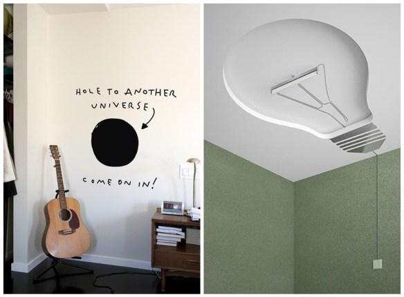 decoracao divertida quarto frase parede luminaria lampada