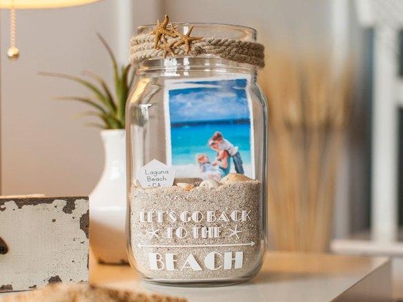 foto dentro pote frasco de vidro areia conchas memorias ferias viagem praia ideias para fazer com fotos projetos com fotos beach jar