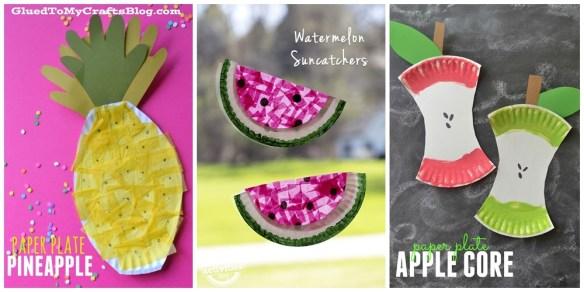 projetos manuais artes faceis para criancas decoracao parede prato de papel frutas abacaxi melancia maca