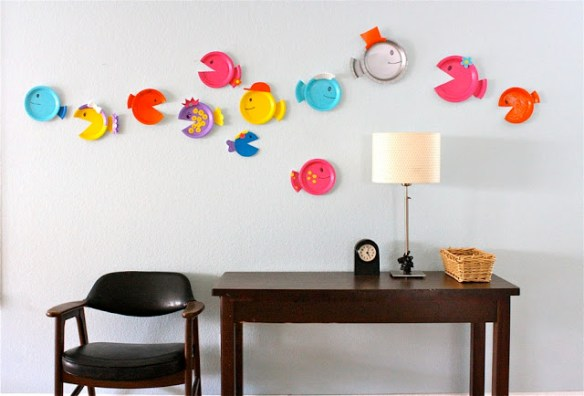 projetos manuais artes faceis para criancas decoracao parede prato de papel peixes 2