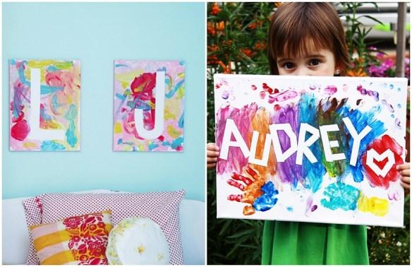 tela pintura ideias criancas nomes iniciais fita adesiva atividade infantil