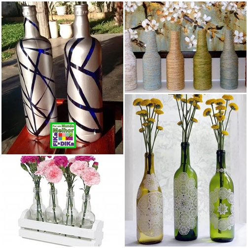 arranjo de flores com garrafas como decorar garrafas 2