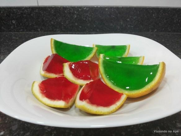 gelatina na casca de laranja
