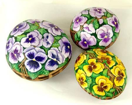 pintura pedra flores decoraçao