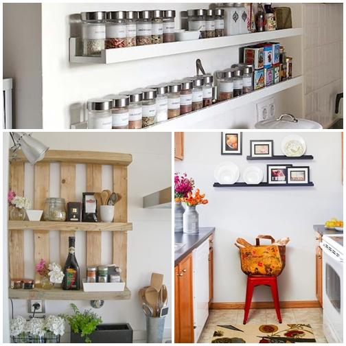 prateleiras rasas tipo canaleta temperos decoraçao cozinha