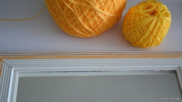 decoraçao moldura espelho linha de croche