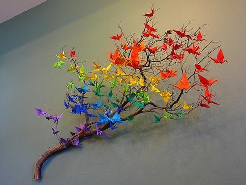decoraçao origami dobradura papel
