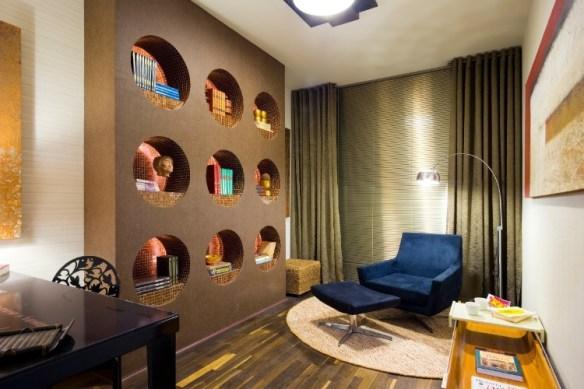 estante drywall nichos redondos