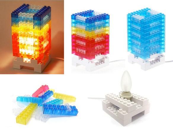 luminaria com lego