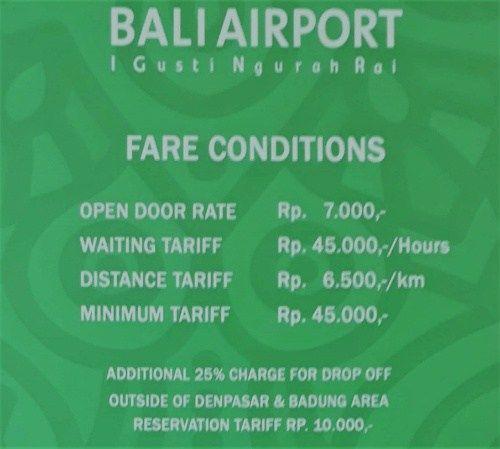 precios actualizados 2018 taxis aeropuerto de Bali