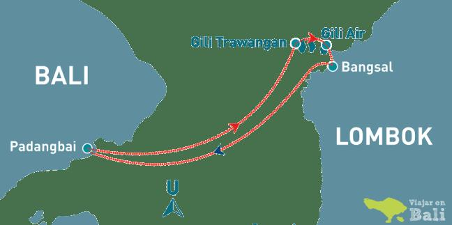 Rutas barcos a islas Gili