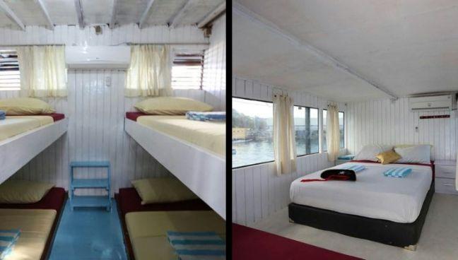 habitaciones barco tour komodo compartido