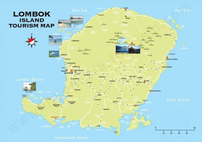 Mapa turistico de Lombok