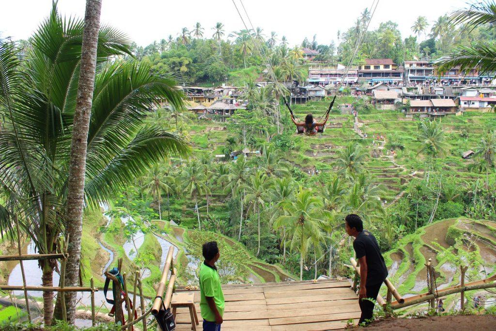 Columpios en las terrazas de arroz de Tegallaland
