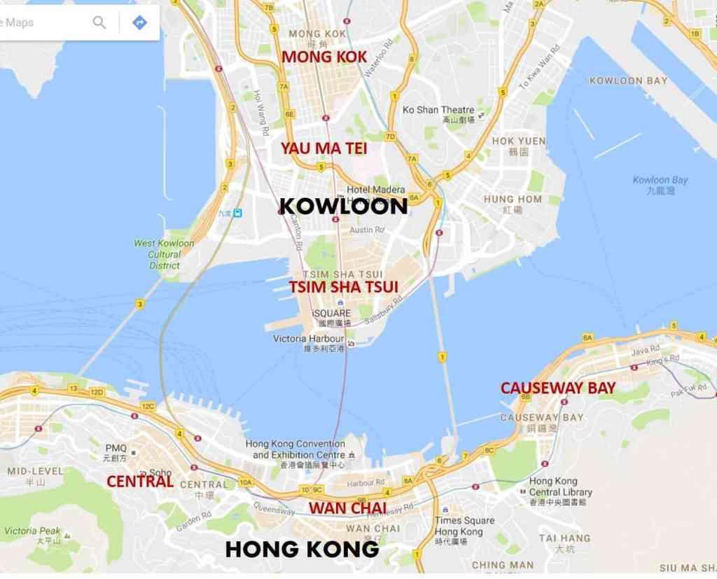 donde alojarse en hong kong mapa
