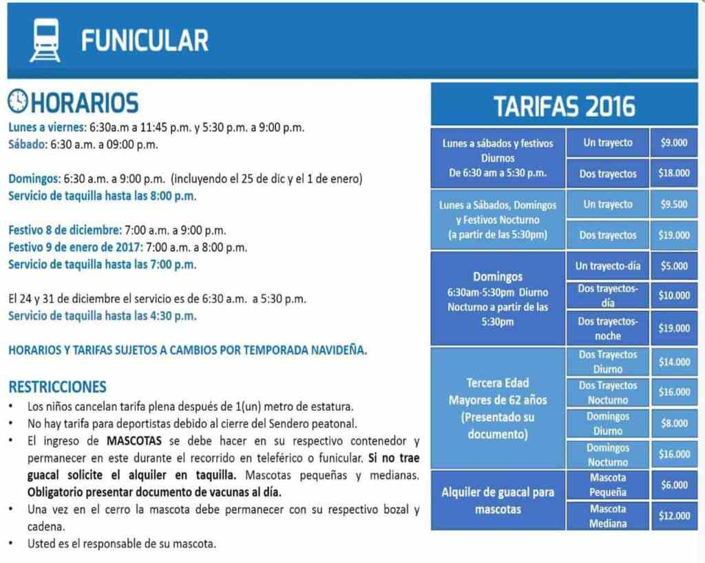 Horarios y tarifas funicular centro monserrate