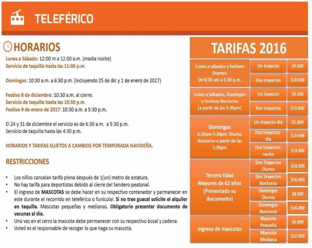 Horarios y tarifas teleferico centro monserrate