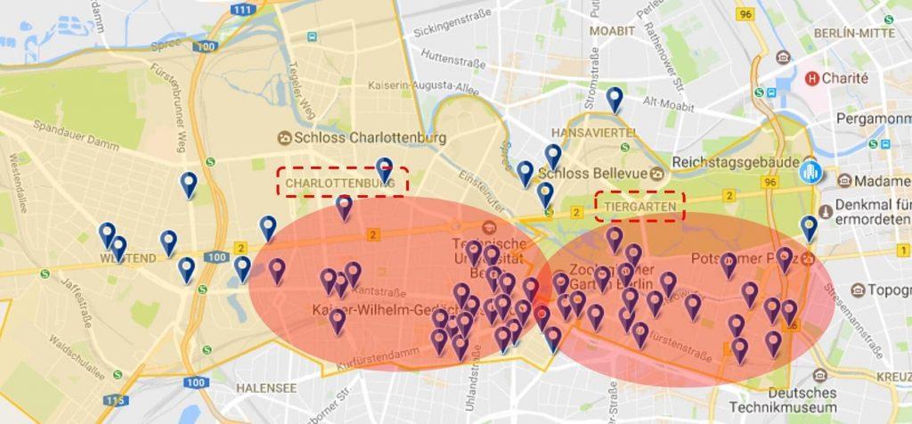 mapa donde alojarse en berlin