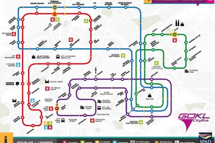mapa bus gratuito kuala lumpur Go KL