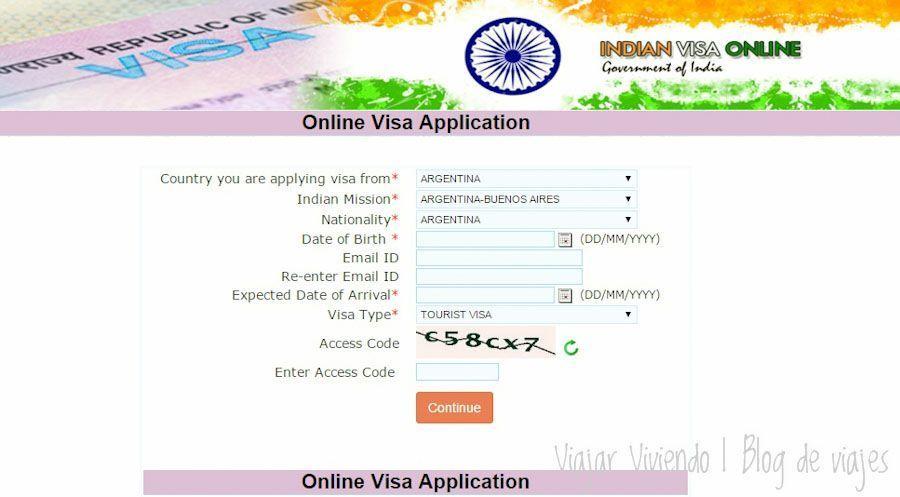 Visa India turismo como completar formulario
