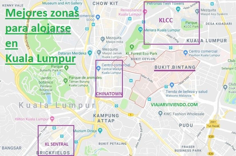 mapa mejor zona dónde alojarse en Kuala Lumpur