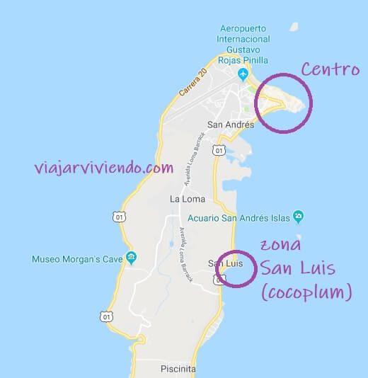Mapa con las mejores zonas para alojarse en San Andrés