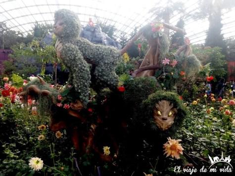 Arte floral en Gardens by the Bay en Singapur