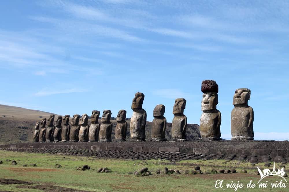 Los moais de Tongariki, Isla de Pascua, Chile