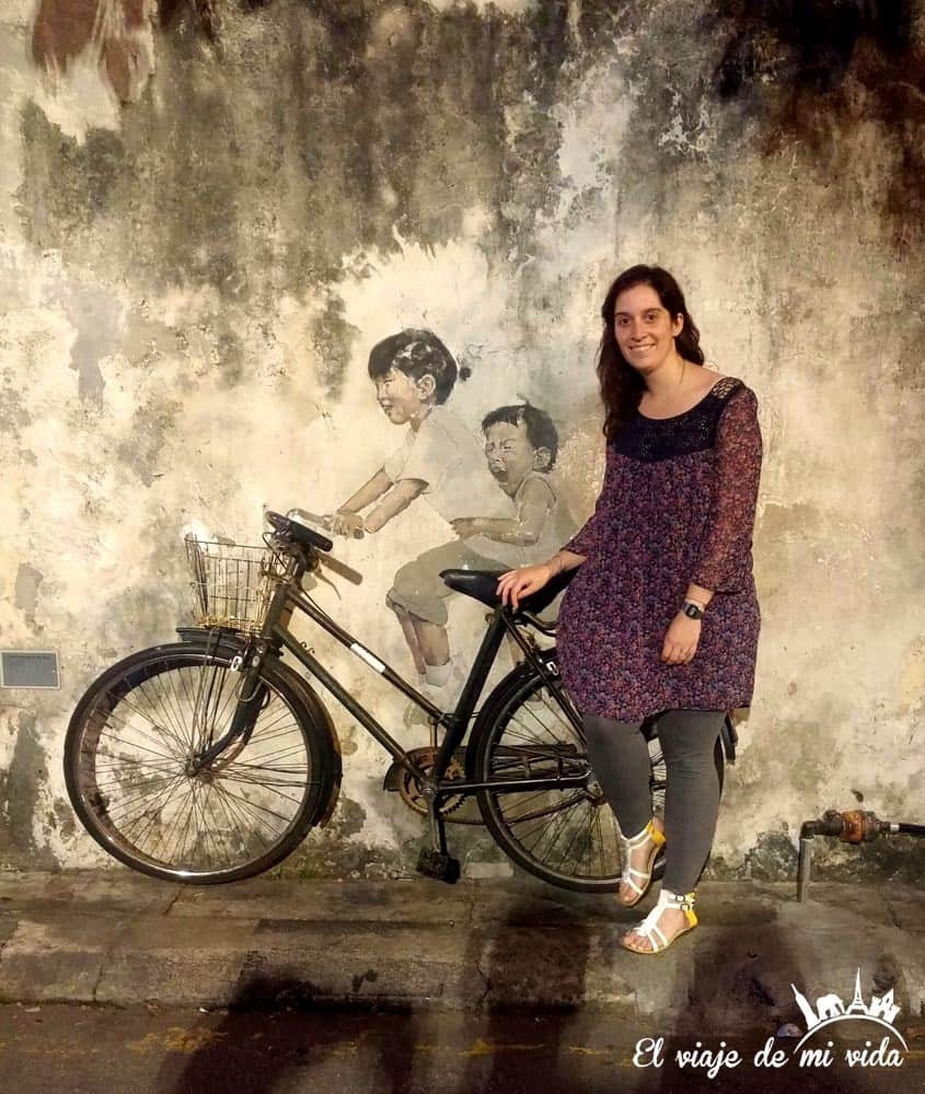 Disfrutando el streetart de Penang, Malasia