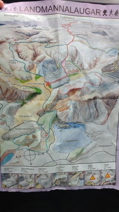 mapa rutas landmannalaugar