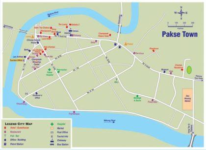 Ciudad de Pakse, mapa