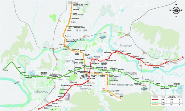 Mapa metro Daegu