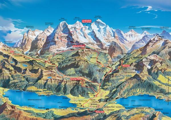 Mapa region Jungfrau-Grindelwald
