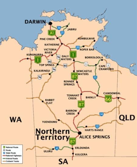 Territorio Norte Australia Mapa