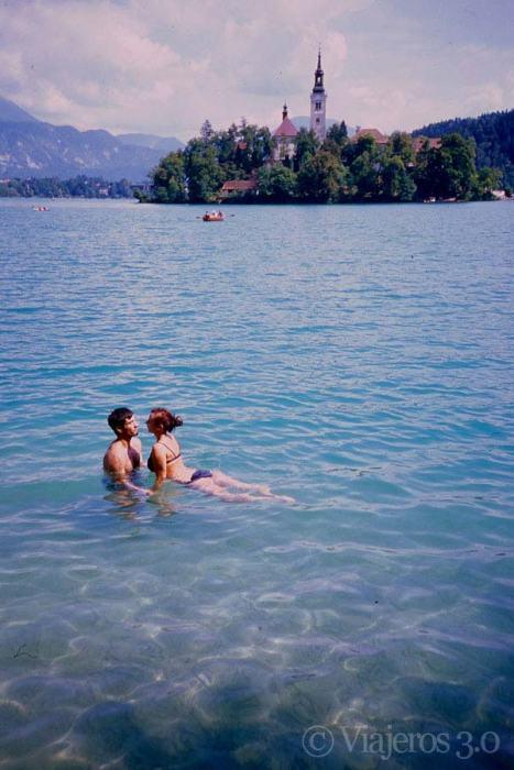 zonas de baño en el lago Bled, Eslovenia