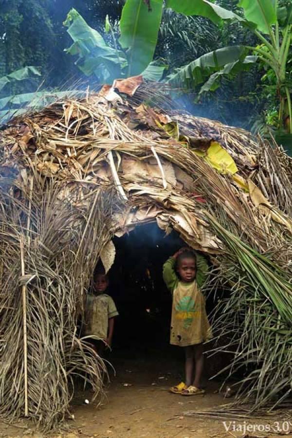 chozas de poblado pigmeo en Camerún