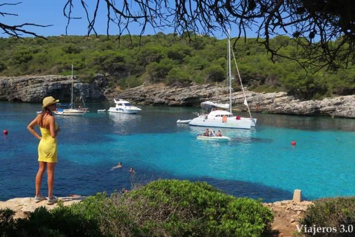 Vistas panorámicas de Cala en Turqueta en el sur de Menorca
