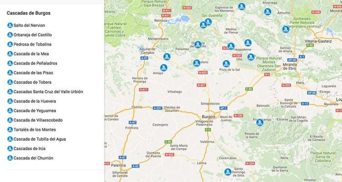 mapas cascadas de Burgos
