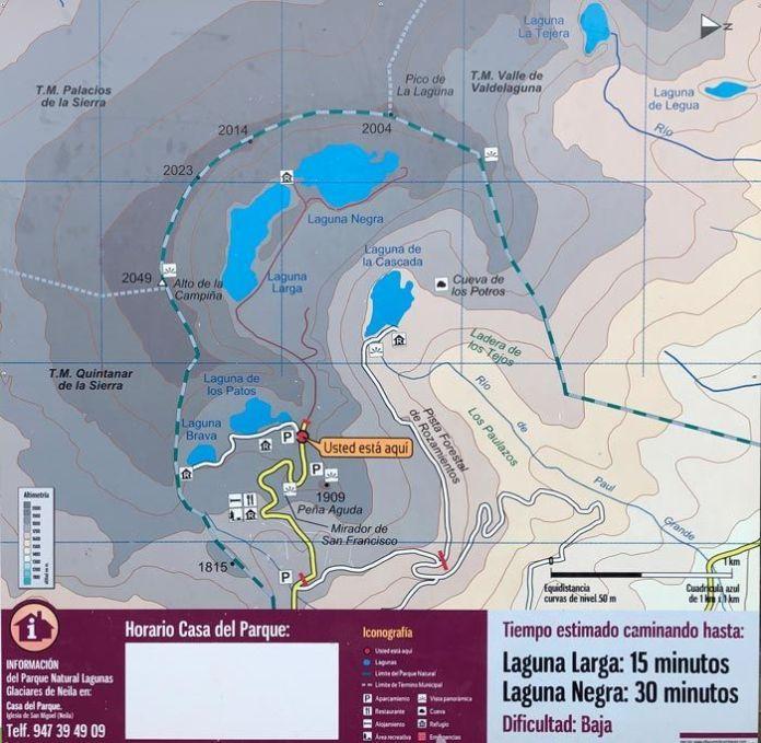 Mapa oficial de las Lagunas de Ruidera.