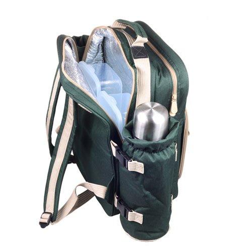 Greenfield Collection Super Deluxe - Mochila de picnic para cuatro personas, color verde bosque 2